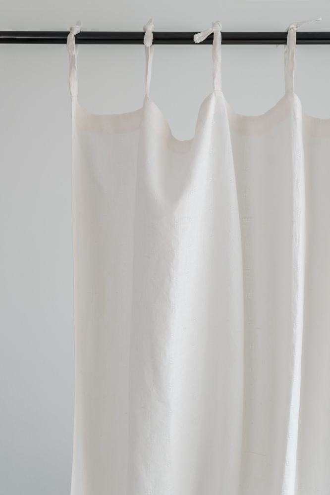 Off White Tie Top Linen Curtain Panel