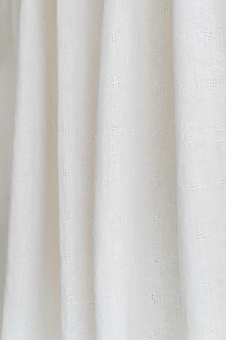 Off-white tie top linen curtain panel