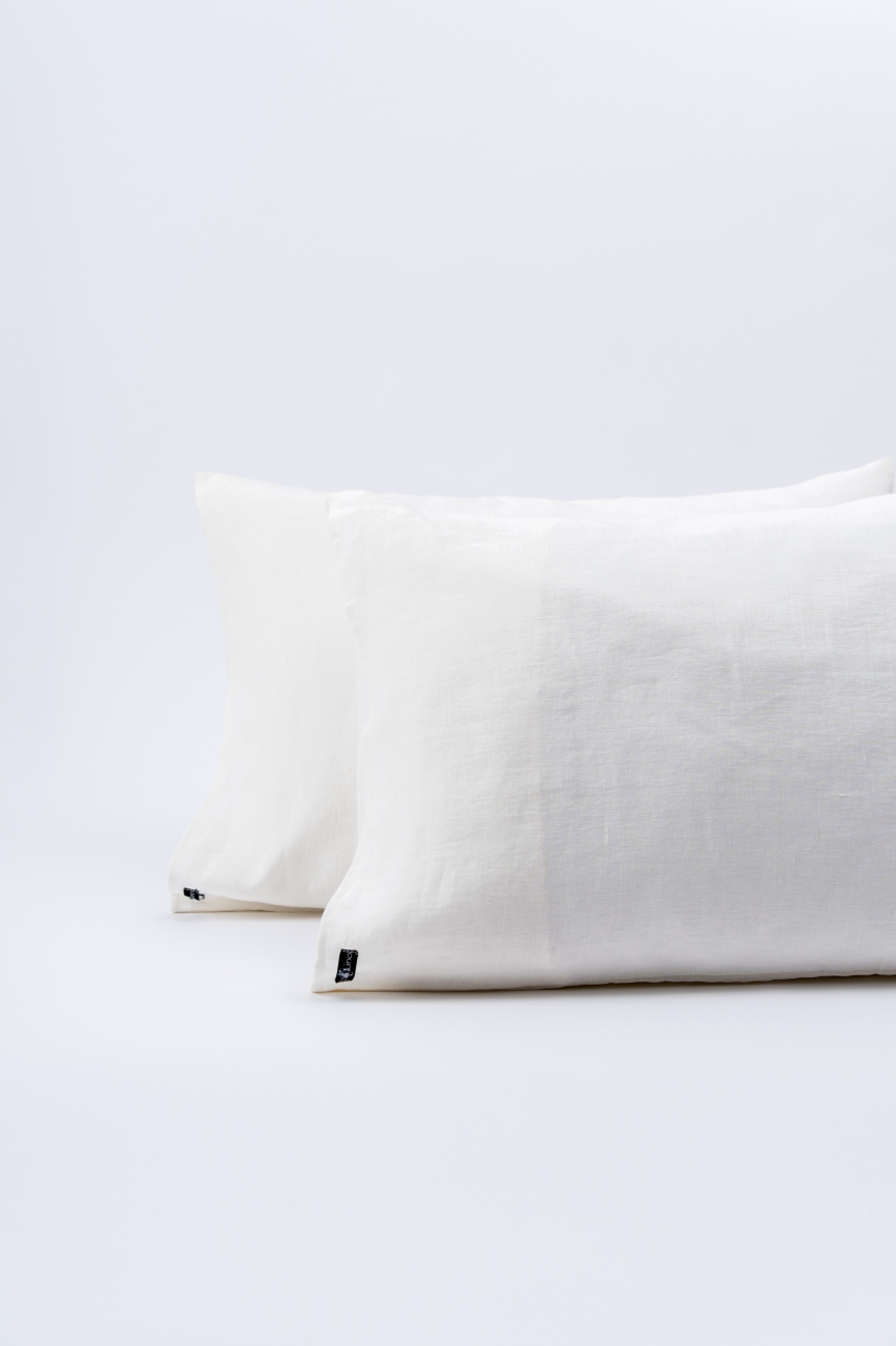 Off-white washed linen pillowcase