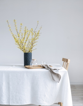 Off-white washed linen tablecloth