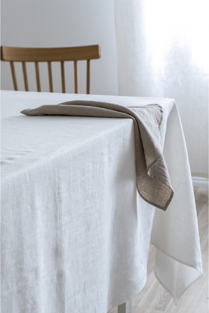 Off White Washed Linen Tablecloth