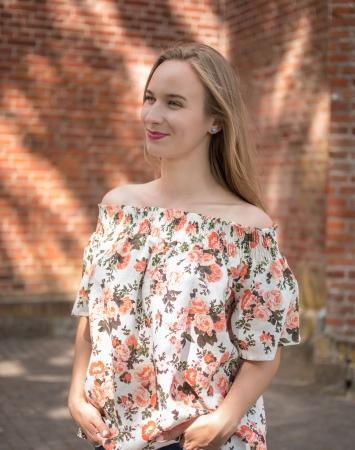 Orange, floral off-shoulder linen top
