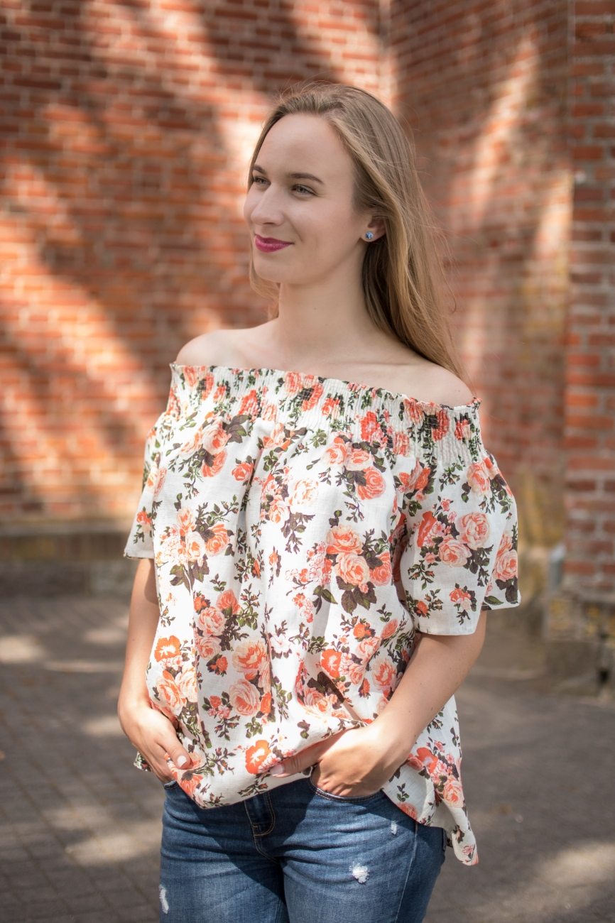 Orange, floral off-shoulder linen top