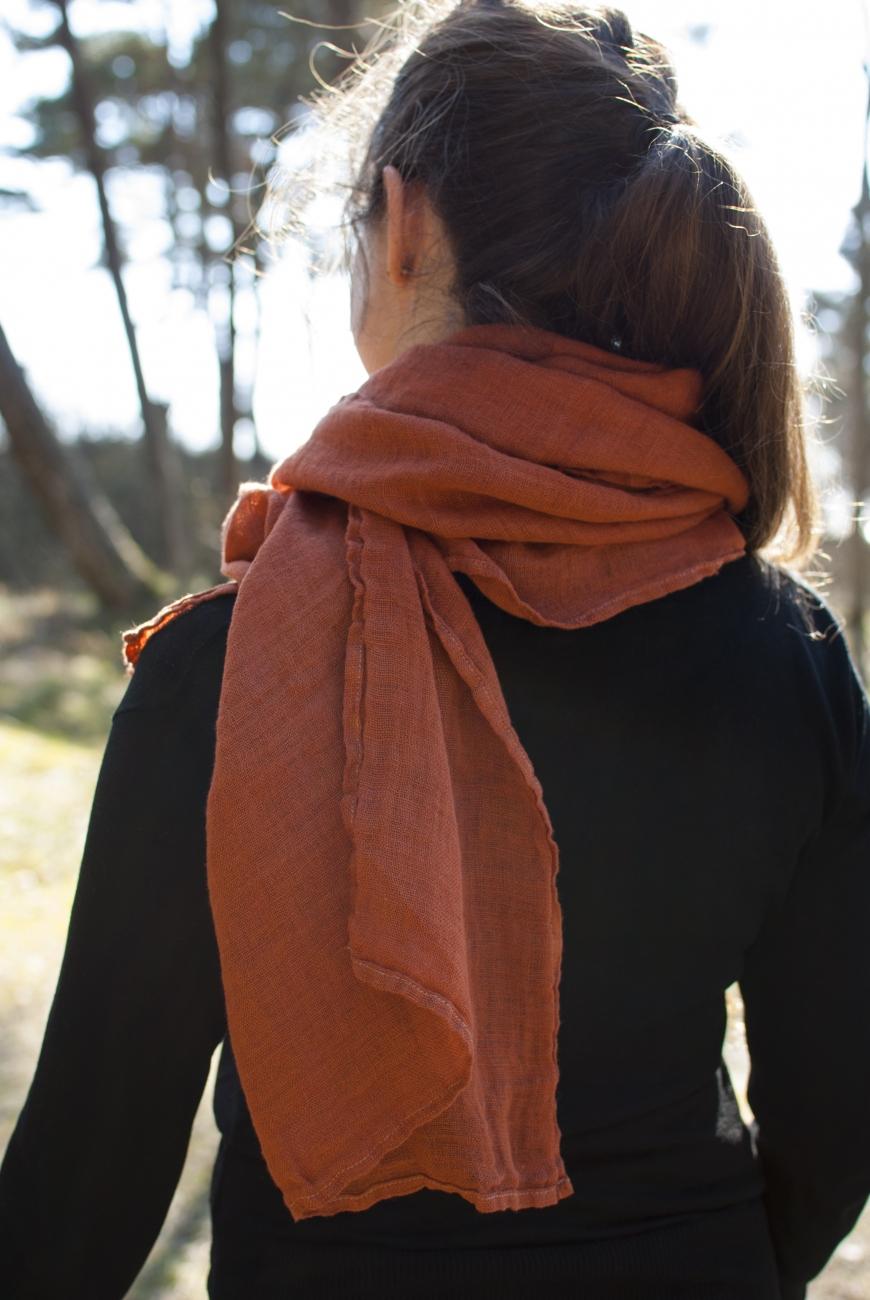 Orange linen scarf