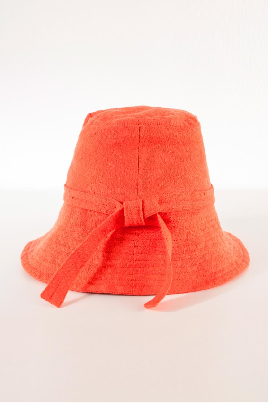 Orange wide brim linen bucket hat