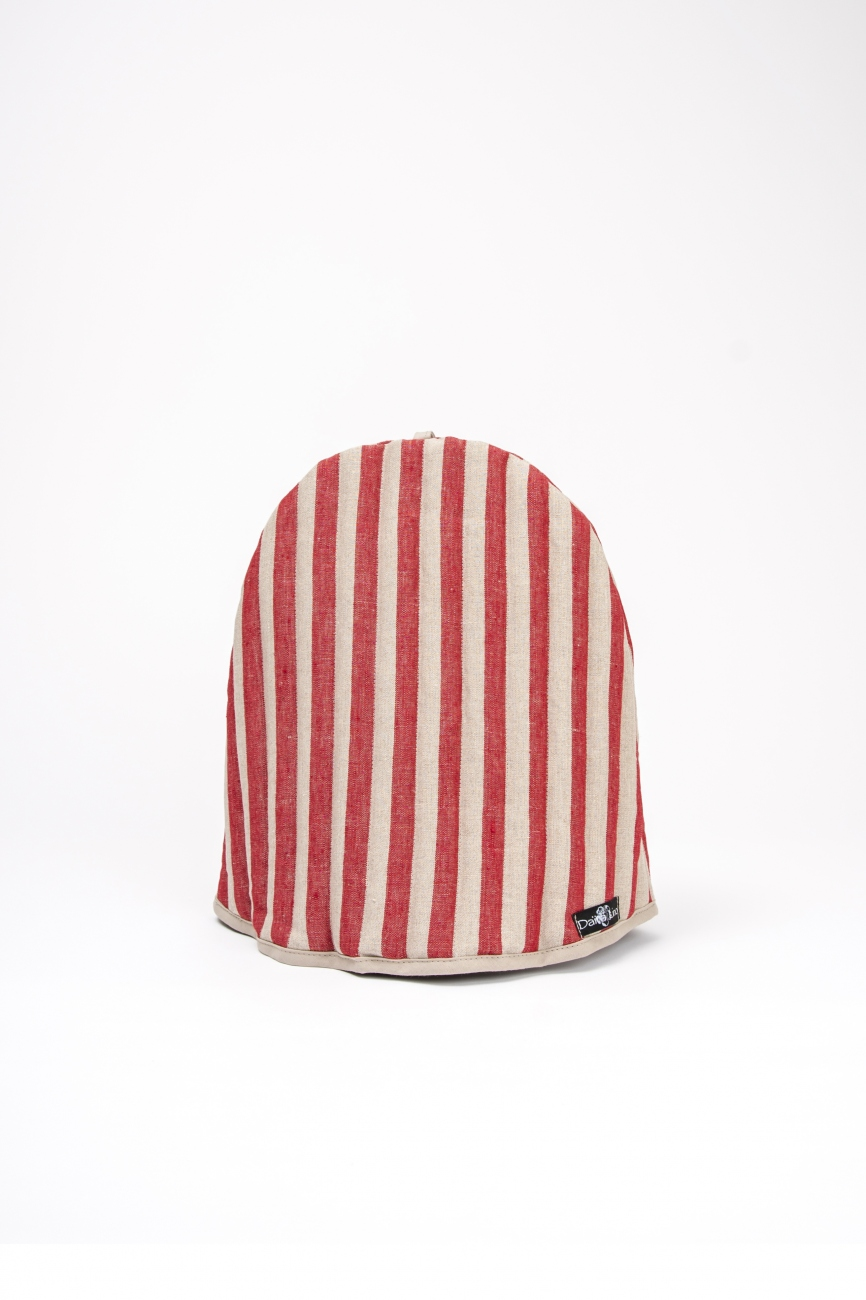 Padded red & natural linen tea cozy with bengal stripe pattern