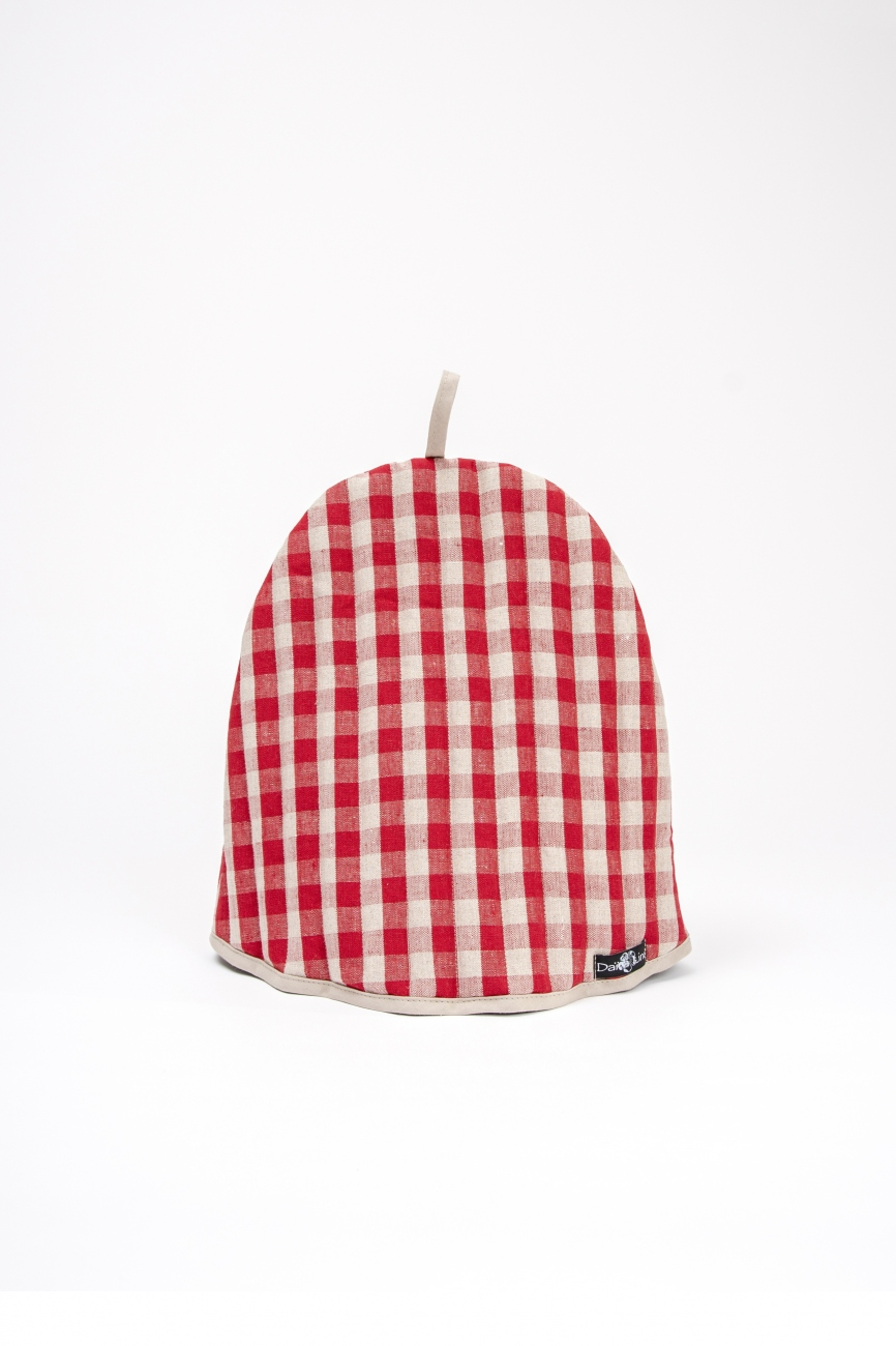 Padded red linen tea cozy with gingham pattern