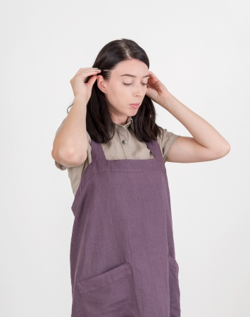 Plum cross back linen apron