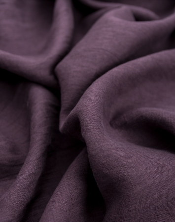 Plum washed linen fabric
