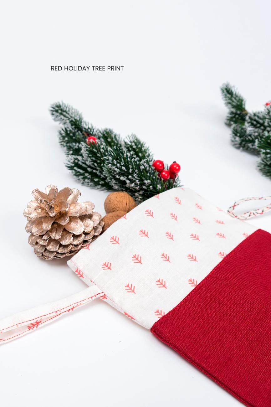 Polka dot cuff Christmas stocking