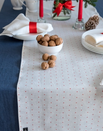 Polka dot linen table runner in white