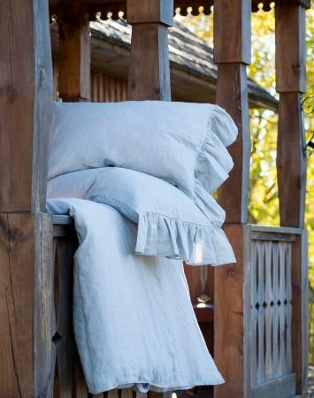 Pure linen pillowcase with ruffles