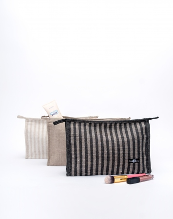 Pure linen travel toiletry bag