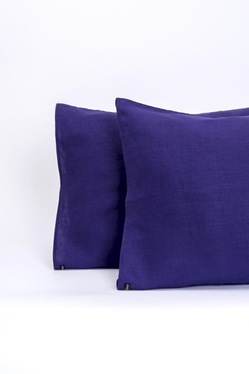 Purple linen pillowcase