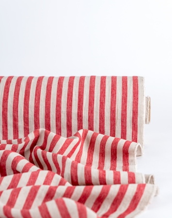 Red & natural linen with bengal stripe pattern