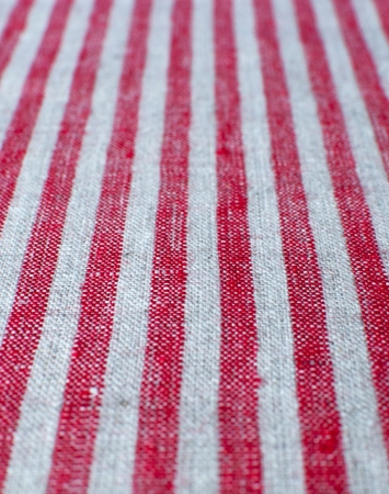Red & natural linen with candy stripe pattern