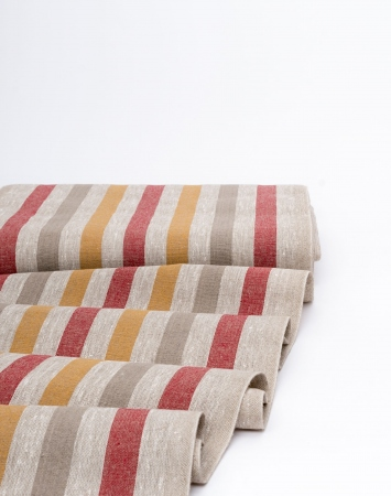 Red & yellow striped pre-washed linen fabric