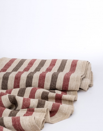 Red and brown wash linen fabric