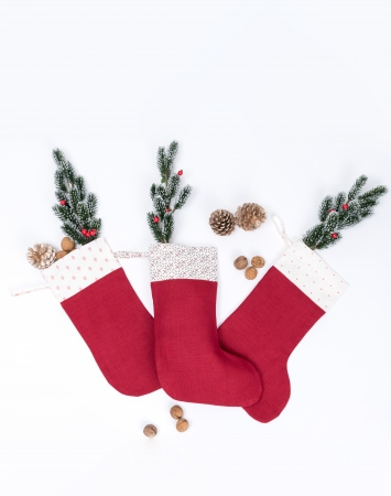Red linen Christmas stocking with printed cuff
