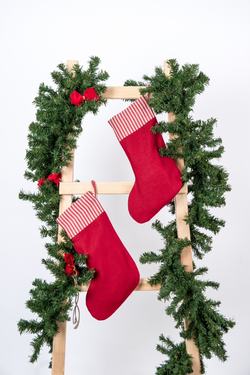 Red linen Christmas stocking with striped cuff