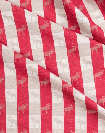 Red linen cotton blend fabric with elk pattern