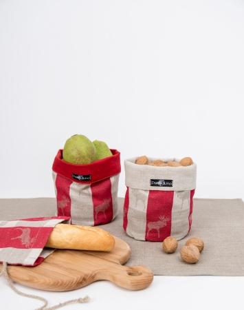 Red linen cotton blend storage bin with elk pattern