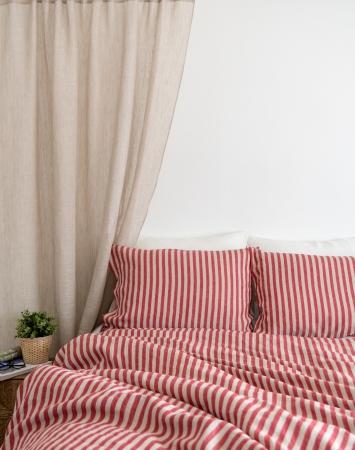 Red striped linen bedding set