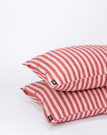 Red striped linen pillowcase with buttons