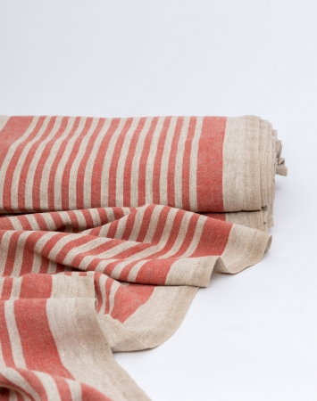 Red striped washed linen fabric