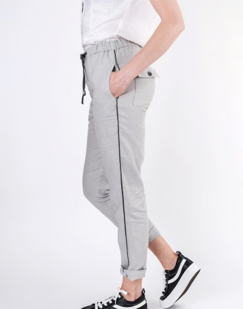 Relaxed fit grey linen summer pants