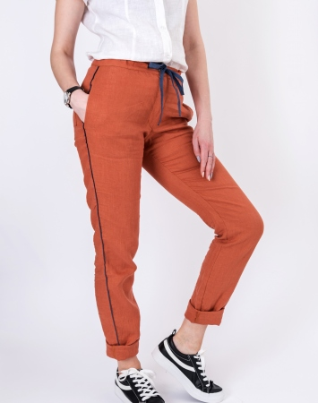 Relaxed fit orange linen summer pants