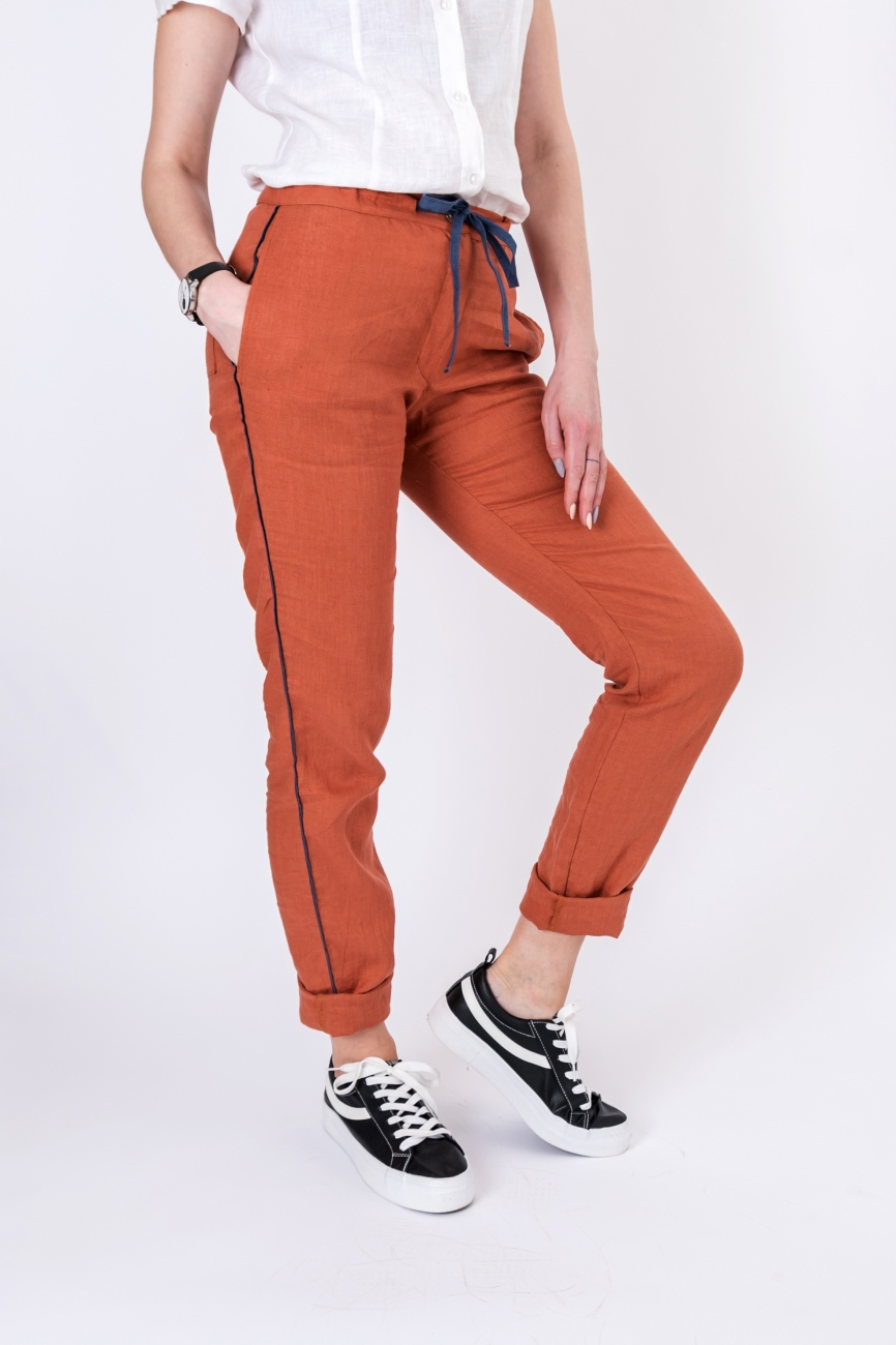 Relaxed fit orange linen summer pants