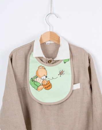 Reversible cotton bib with teddy bear print