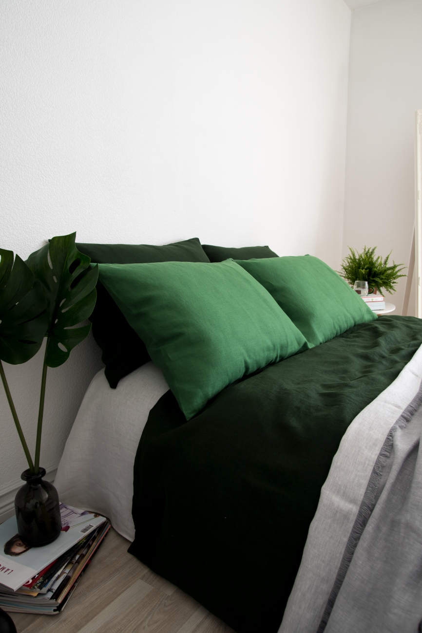 Rich green washed linen pillowcase with an envelope closure