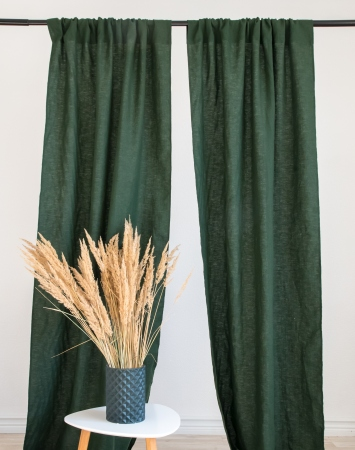 Rod pocket linen curtain panel in dark green
