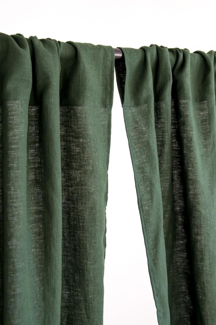 Rod pocket linen curtain panel in dark green