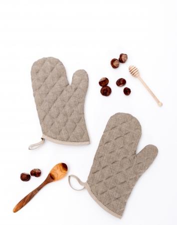 Set of 2 natural linen oven mittens