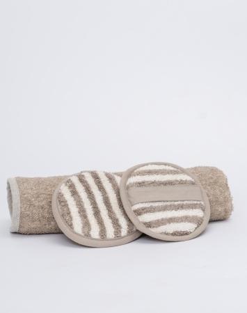 Set of 2 shower pads from linen cotton blend