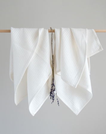 Set of 2 small washed off-white waffle linen towels