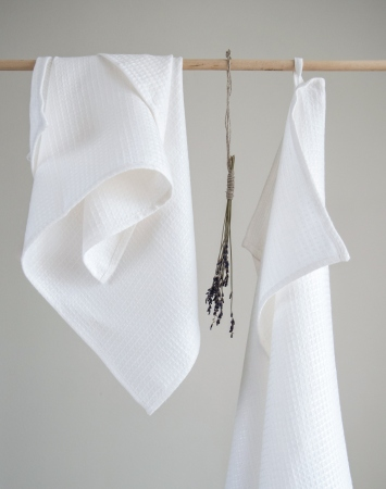 Set of 2 small washed white waffle linen towels