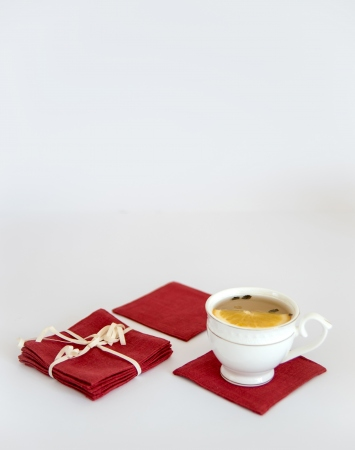 Set of 6 cranberry red linen coasters
