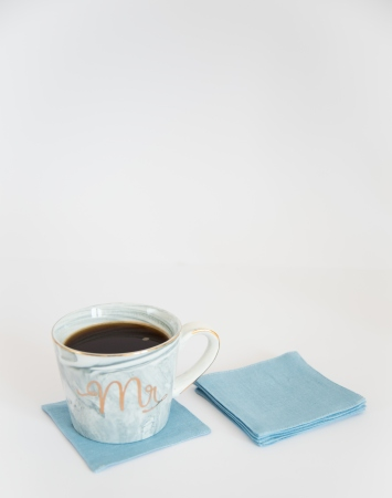 Set of 6 light blue linen coasters