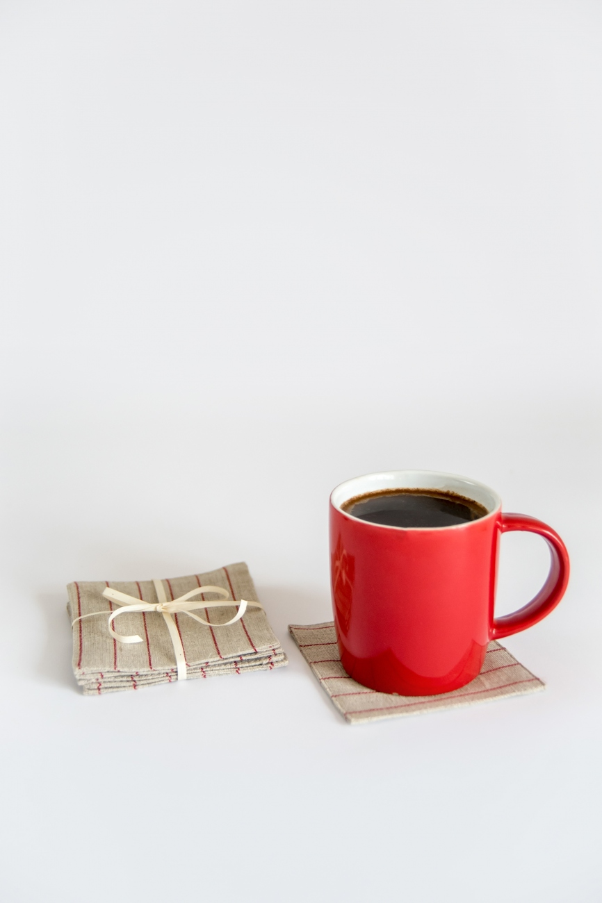 Set of 6 linen coasters with red pin stripe pattern