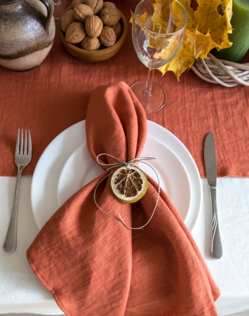 Set of burnt orange washed linen napkins