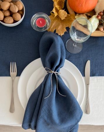 Set of denim blue washed linen napkins