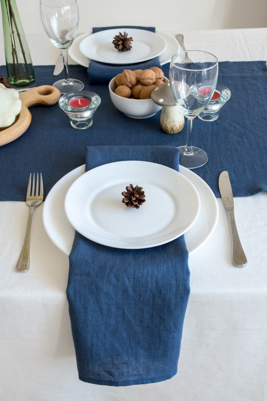 Set of denim blue washed linen napkins