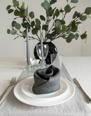 Set of graphite grey washed linen napkins