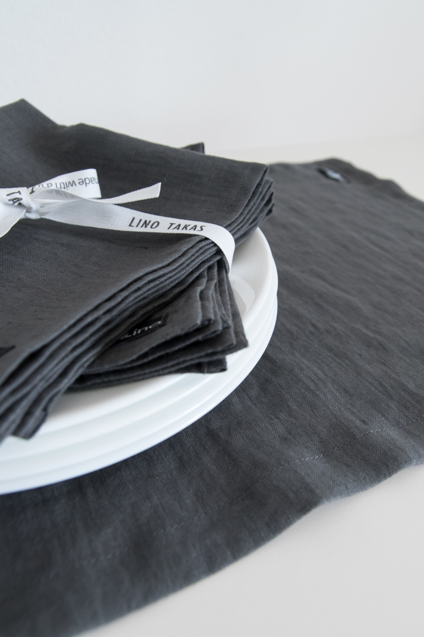 Set of graphite grey washed linen napkins