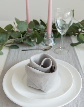 Set of light grey washed linen napkins