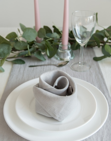 Set of light grey washed linen napkins